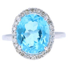 6.14 Carat Blue Topaz Diamond 14 Karat White Gold Ring