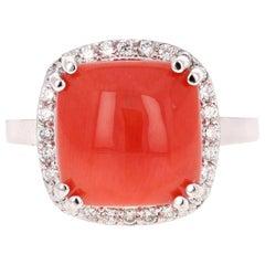 6.14 Carat Coral Diamond 14 Karat White Gold Halo Ring