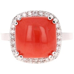 6.14 Carat Coral Diamond Cocktail White Gold Ring