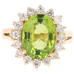 6.14 Carat Peridot Diamond Ballerina Yellow Gold Ring