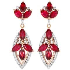 6.14 Carat Ruby and 0.52 Carat Diamond Drop Chandelier Earrings