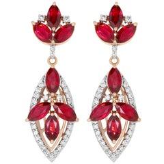 6.14 Carat Ruby and 0.52 Carat Diamond Drop Earrings