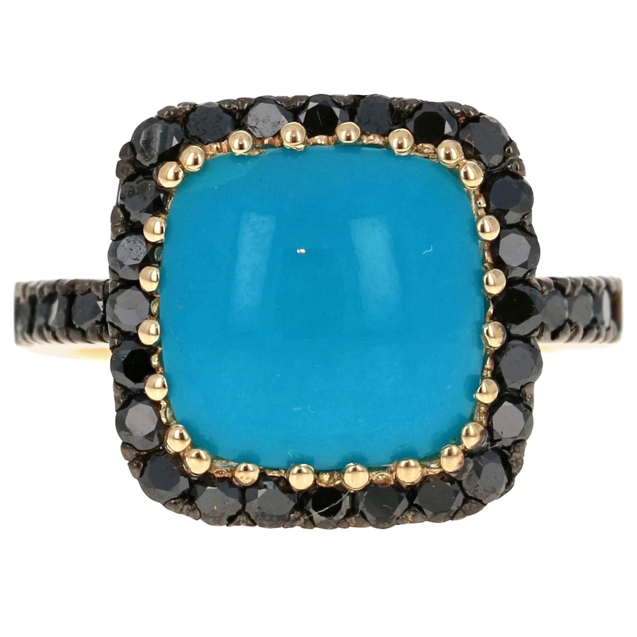 6.14 Carat Turquoise Black Diamond 14 Karat Yellow Gold Ring