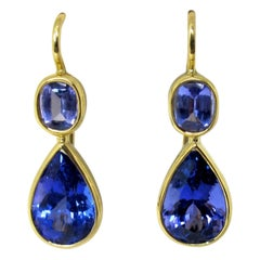 6.15 Carat Bezel Set Tanzanite Drop Earrings 18 Karat Yellow Gold