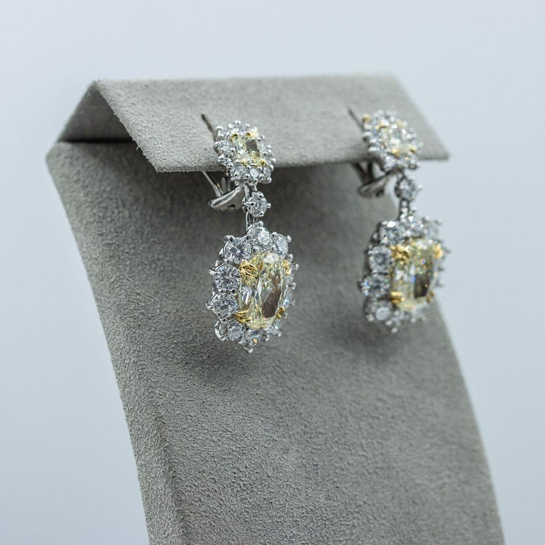 6.15 Carat Fancy Yellow Diamond Halo Flower Dangle Earrings In New Condition For Sale In New York, NY