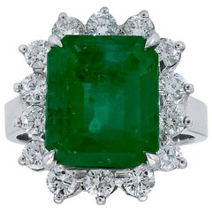 6.15 Carat Green Emerald and Diamond Flower Halo Engagement Ring