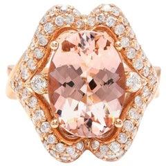 6.15 Carat Impressive Natural Morganite and Diamond 14K Solid Rose Gold Ring