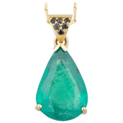 6.15 Carat Pear Shaped Emerald and Black Diamond Contemporary Necklace