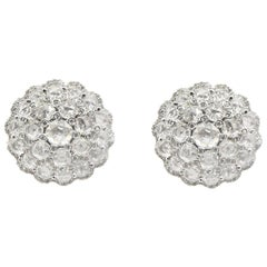 6.15 Carat Rose Cut and Round Diamond  Statement Dome Shaped Earrings