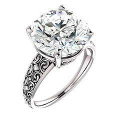 6.16 Carat Round Diamond Platinum Engagement Ring Vintage Style GIA K-VS1