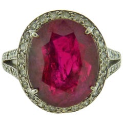 6.16 Carat Ruby and Diamonds Platinum Ring