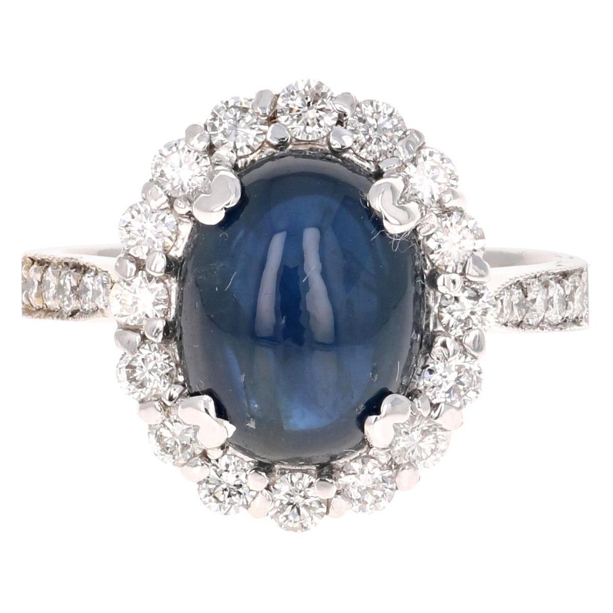 6.16 Carat Sapphire Diamond 18 Karat White Gold Bridal Ring