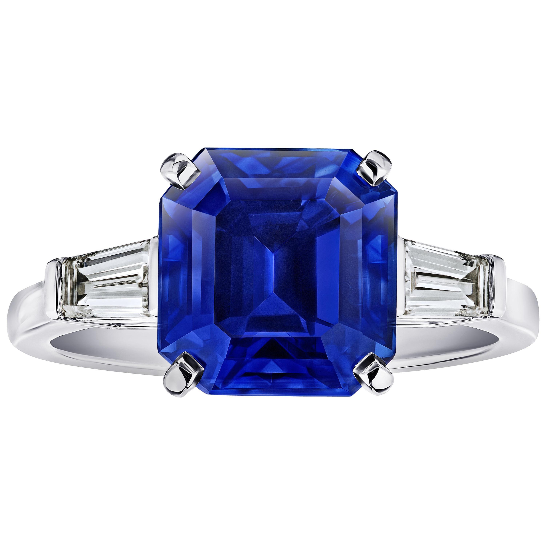 6.16 Square Emerald Blue Sapphire and Diamond Ring