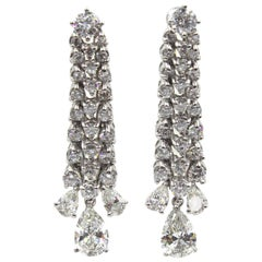 6.17 Carat Diamond Platinum Dangle Vintage Earrings