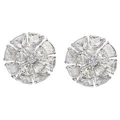 6.17 Carat Rose Cut and Round Diamond Stud Flower Earring, 18 Karat White Gold