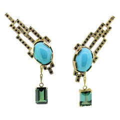 6.17 Total Carat of Natural Turquoise Cabochon and Black Diamond Earrings