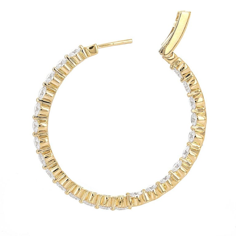 Modern 6.18 Carat Inside Out Yellow Gold Diamond Hoop Earrings For Sale