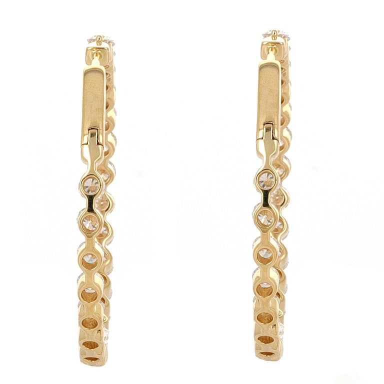 Round Cut 6.18 Carat Inside Out Yellow Gold Diamond Hoop Earrings For Sale