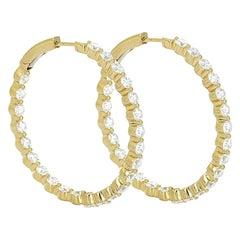 6.18 Carat Inside Out Yellow Gold Diamond Hoop Earrings