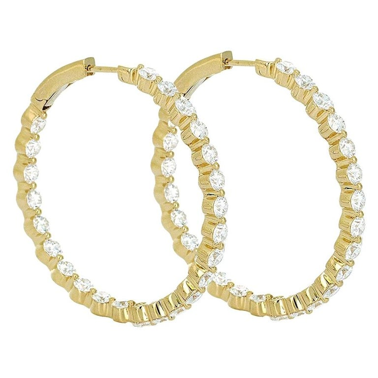 6.18 Carat Inside Out Yellow Gold Diamond Hoop Earrings For Sale