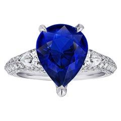 6.18 Carat Pear Shape Blue Sapphire and Diamond Platinum Ring