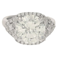 6.18 Carat Round Brilliant Cut Diamond Cluster Cocktail Ring, Modern