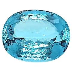 61.84 Carat Intense Blue Oval Aquamarine Natural Gemstone