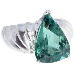 Gemjunky Modern Unique 6.19 Ct Green Tourmaline Sterling Silver Cocktail Ring