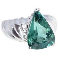 Gemjunky Modern Unique Rare 6.19Ct Green Tourmaline Silver Cocktail Ring