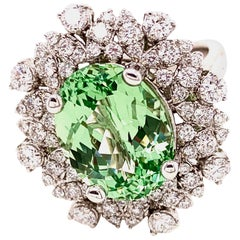 6.19 Ct Merelani Mint Grossular Garnets 'Tsavorite' -  Diamond 18k Gold Ring