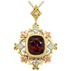 6.19 Carat Rhodolite Garnet, Diamond Yellow, White, Rose Gold Pendant Necklace