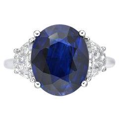 6.19 Carat Sri Lanka Sapphire GRS Certified Non Heated Diamond Ring Oval Cut
