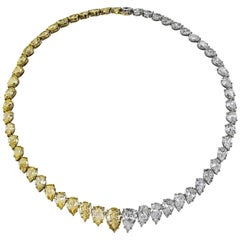 61.96 Carat Total Graduating Yellow and White Diamond Rivière Necklace