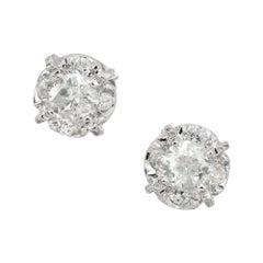 .62 Carat Diamond White Gold Cluster Stud Earrings