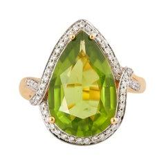 6.2 Carat Peridot and Diamond Ring in 18 Karat Yellow Gold