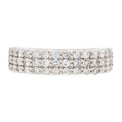 .62 Carat Round Brilliant Diamond Band, 14 Karat White Gold Ring