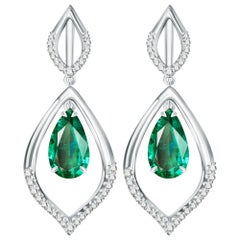 6.2 Carat Zambian Emerald Diamond 18 Karat White Gold Earrings