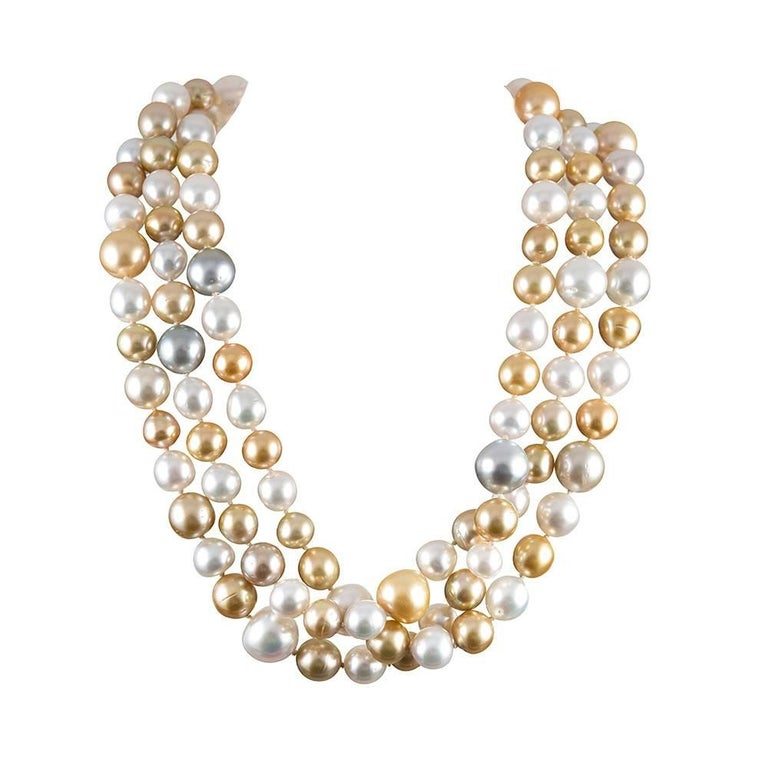Multi-Colored South Sea Pearl Strand For Sale