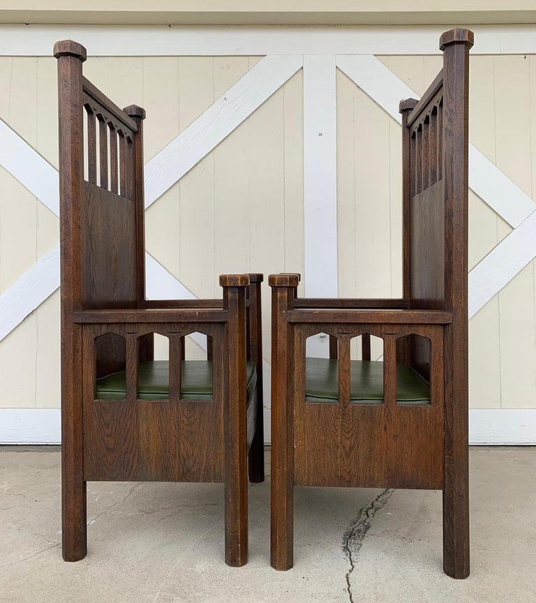 Arts & Crafts Arm Chairs, Early 1900s In Good Condition For Sale In Los Angeles, CA