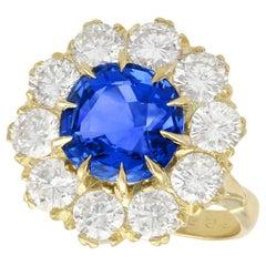 6.20 Carat Ceylon Sapphire and 3.20 Carat Diamond Gold Cluster Ring