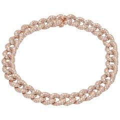 Alexander 6.20 Carat Diamond Cuban Link Bracelet 18 Karat Rose Gold