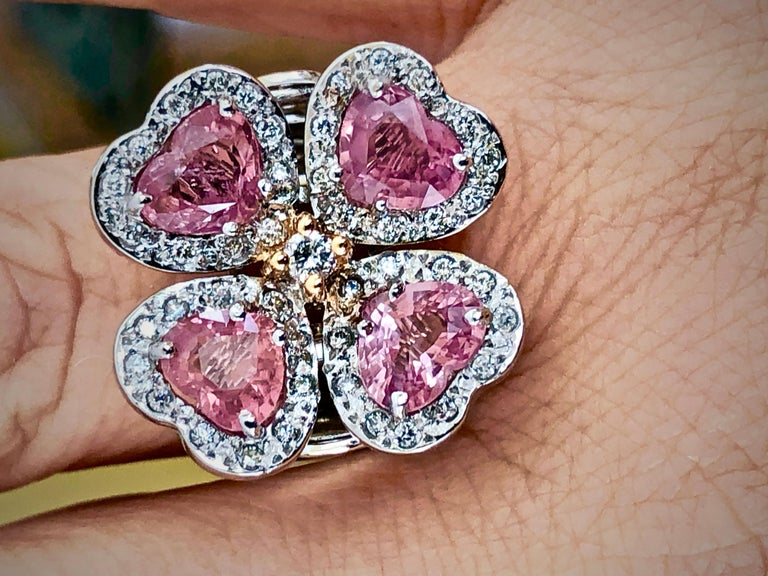 Heart Cut GIA 6.20 Carat Padparadscha Sapphire and Diamond Flower Ring 18K For Sale