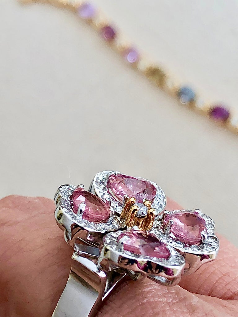 GIA 6.20 Carat Padparadscha Sapphire and Diamond Flower Ring 18K For Sale 2
