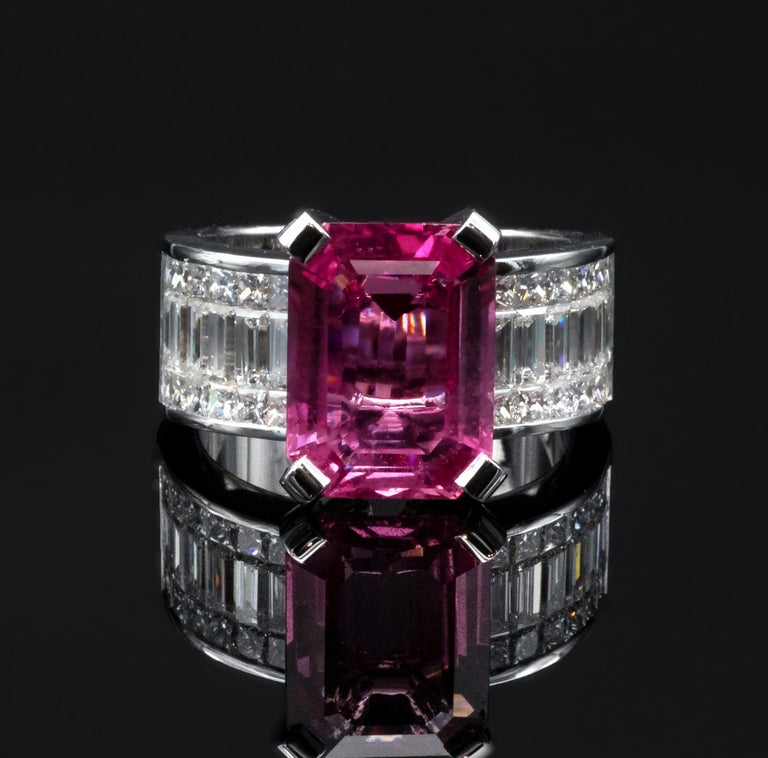 6.20 Carat Natural Pink Sapphire and Diamond Ring 2