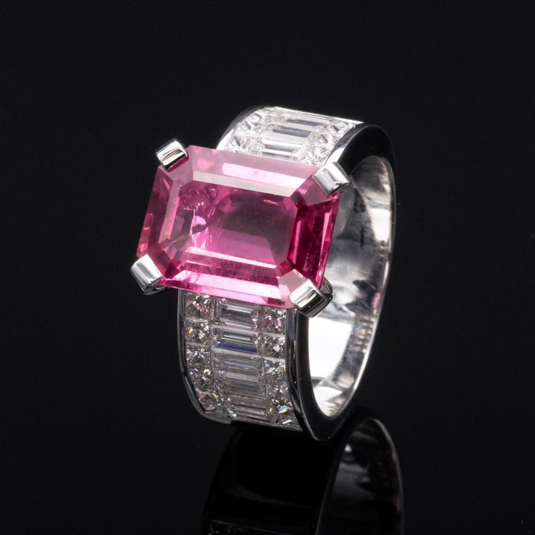 6.20 Carat Natural Pink Sapphire and Diamond Ring 3