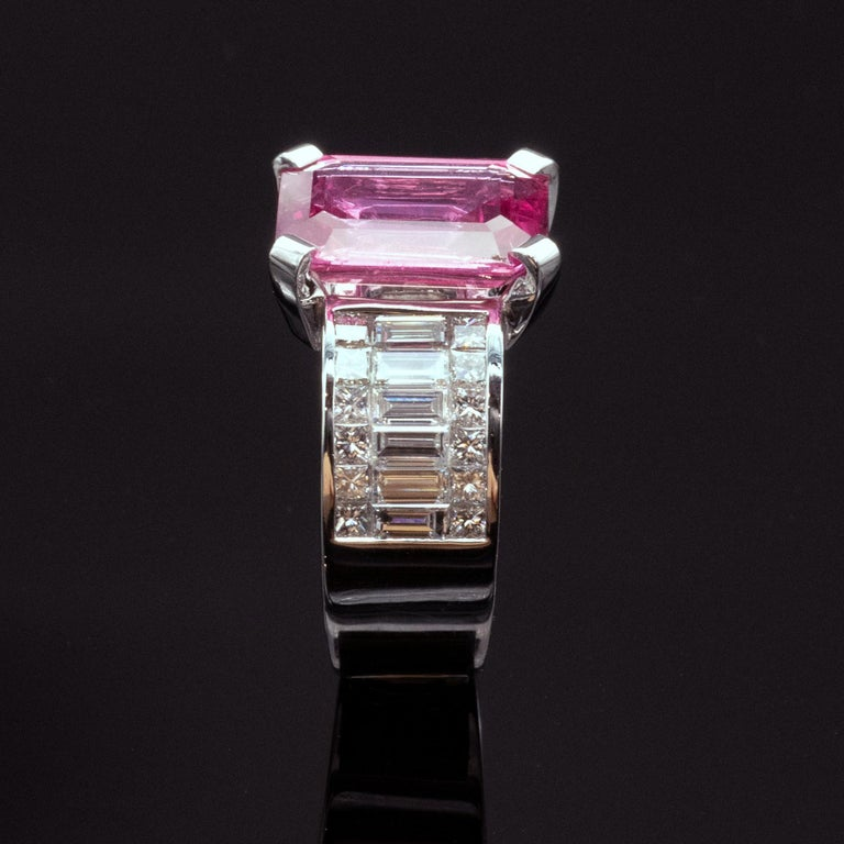 6.20 Carat Natural Pink Sapphire and Diamond Ring 4