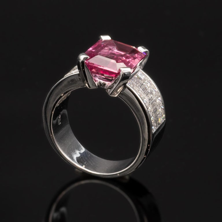 6.20 Carat Natural Pink Sapphire and Diamond Ring 5