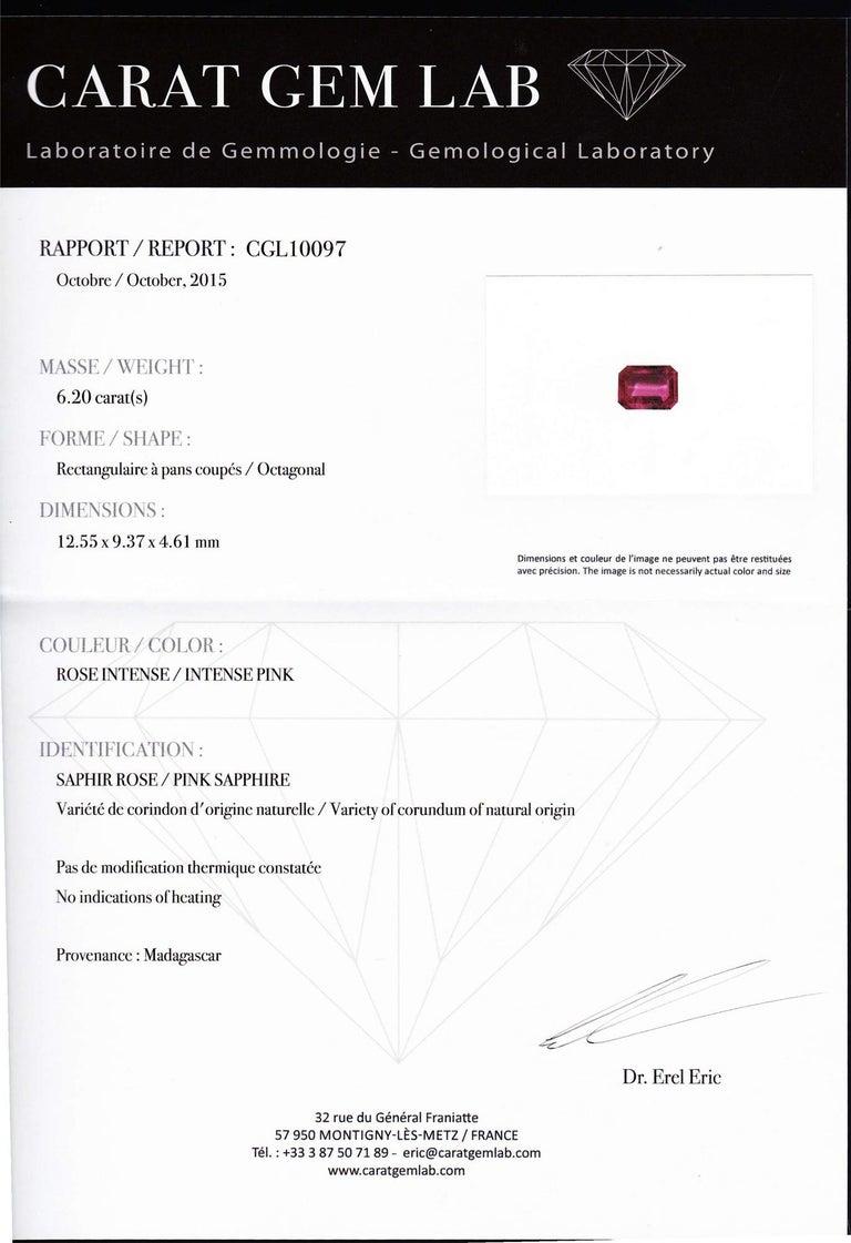 6.20 Karat natürlicher Rosa Saphir und Diamant Ring 6