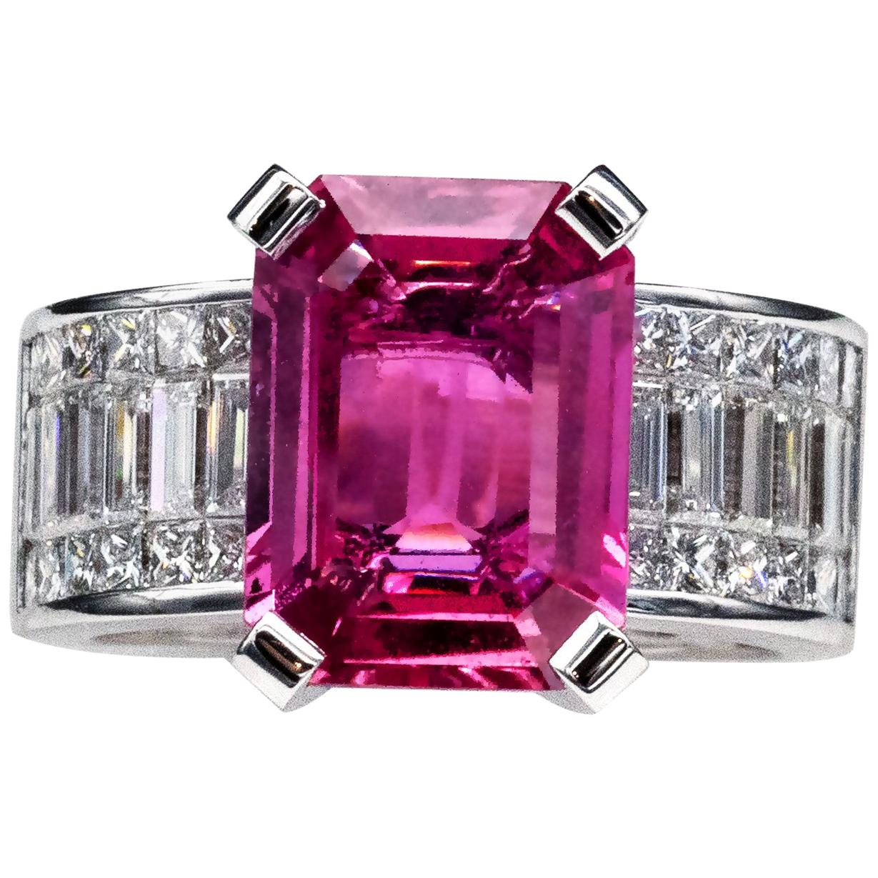 6.20 Carat Natural Pink Sapphire and Diamond Ring