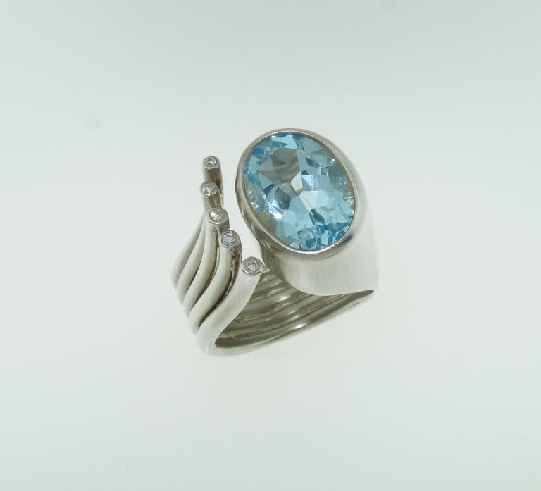 Contemporary 6.20 Carat Sky Blue Topaz Ring For Sale